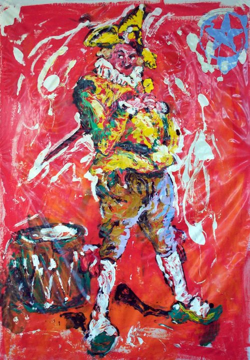 """Poly-Tarp, The Joker"" 2005. Oil on Polytarp Plastic/Canvas. 80""X 68"""