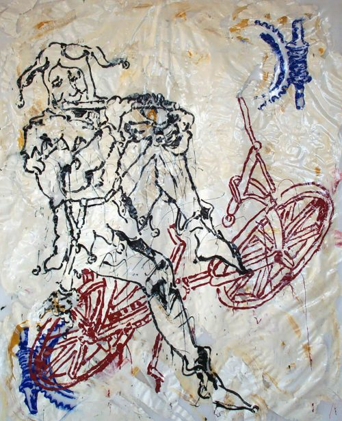 """DaVincycle Joker"" 2005. Oil on Polytarp Plastic/Canvas. 80""X 68"""