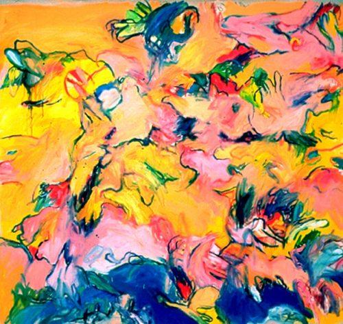 """River Bird"" 1987. Oil on Canvas. 78""X 78"""