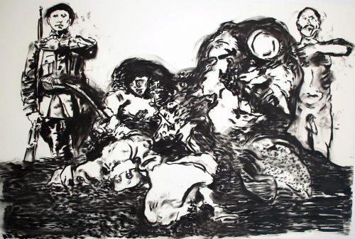 """Saluting Goya"" 2004, Charcoal on Paper. 40""X 60"""