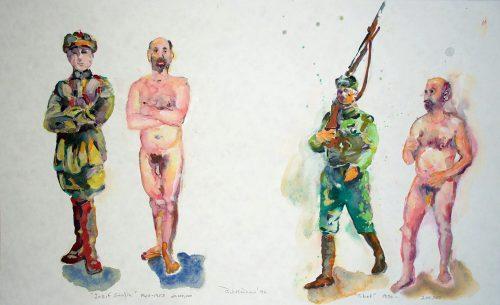 """""""Stalin - Tibet"""" 2005, Watercolor. 13""""X 22"""""""
