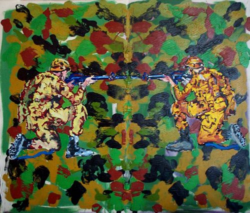 """New World / Old World Globalism"" 2005, Oil on Canvas. 56""X 76"""