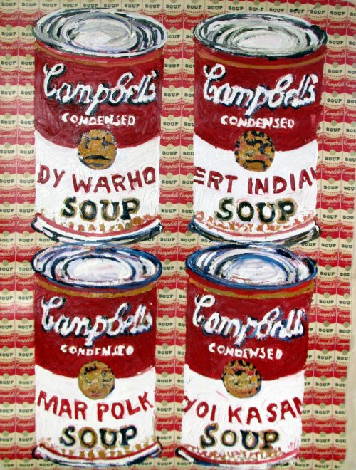"Kusama Soup Cans"" 2007, Oil on Vinyl Tablecloth. 78""X 60"""