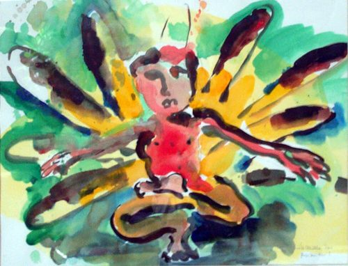 """Yoga Man"" 2001. Acrylic on Paper. 28""X 33"""