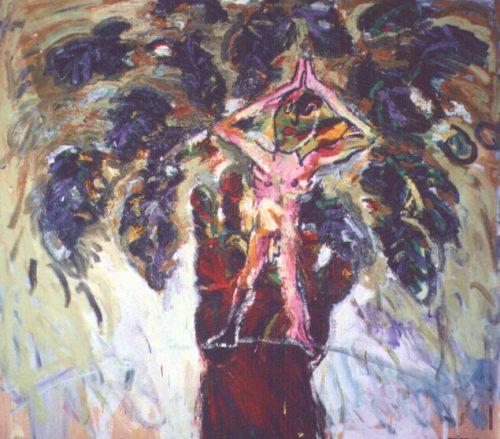 """""""Yoga Tree"""" 2002. Oil on Canvas. 78""""X78"""""""