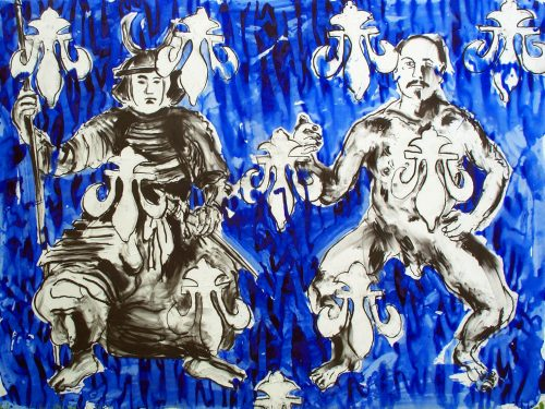 """""""Yoga Warriors"""" 2005, Acrylic on Canvas. 80""""X 105"""""""