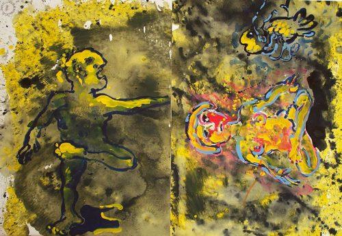 """A Yogi's Gift"" 2001. Diptych, Acrylic on Paper. 30""X 22"" each"