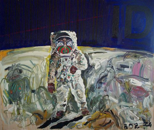"""Astronaut ID"" 2009, oil / Canvas. 10 feet X 12 feet"