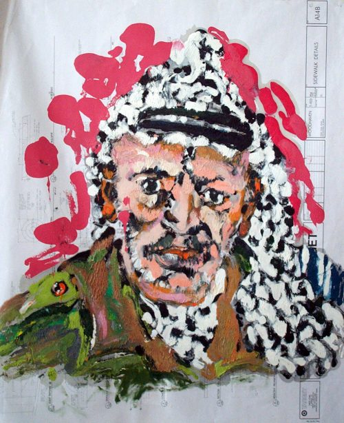"""Target - Arafat"" 2009. Oil on Detailers Paper/Canvas. 42""X 36"""