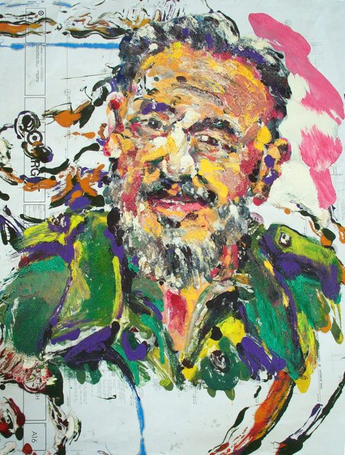 """Target - Castro"" 2009. Oil on Detailers Paper/Canvas. 42""X 36"""