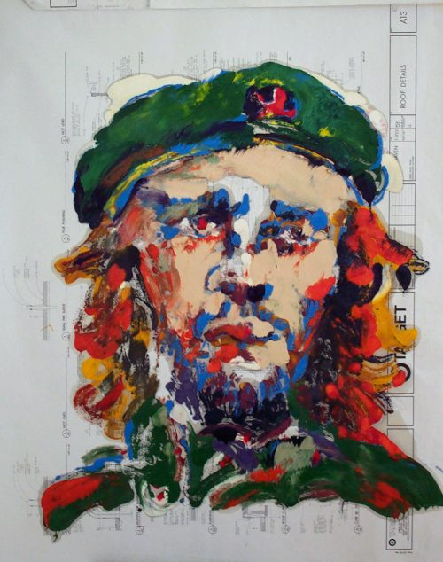 """Target - Che"" 2009. Oil on Detailers Paper/Canvas. 42""X 36"""