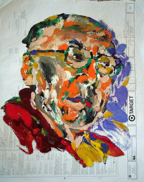 """Target - Dali Lama"" 2009. Oil on Detailers Paper/Canvas. 42""X 36"""