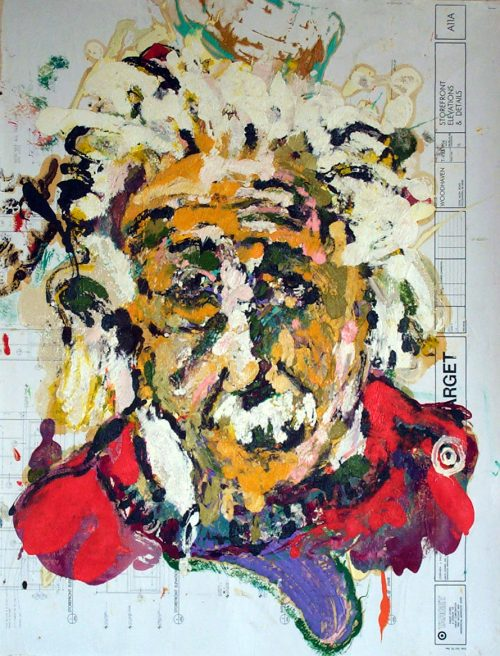 """Target - Einstein"" 2009. Oil on Detailers Paper/Canvas. 42""X 36"""