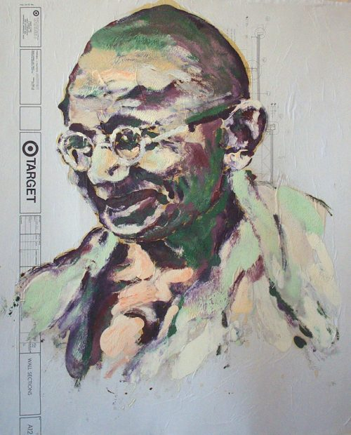 """Target - Gandhi"" 2009. Oil on Detailers Paper/Canvas. 42""X 36"""