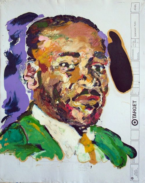 """Target - MLK"" 2009. Oil on Detailers Paper/Canvas. 42""X 36"""