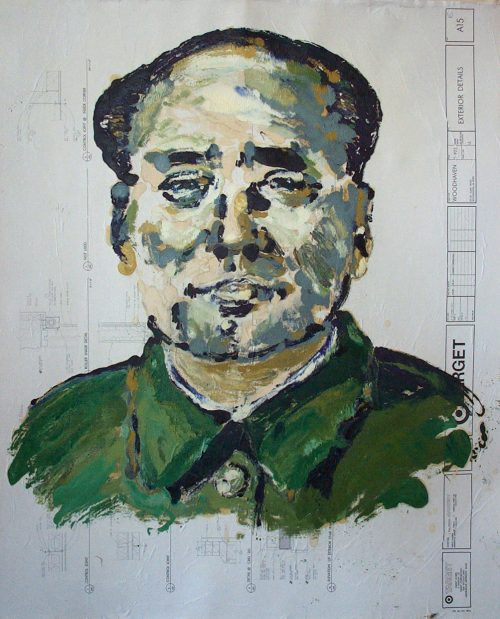 """Target - Mao"" 2009. Oil on Detailers Paper/Canvas. 42""X 36"""