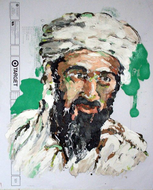 """Target - Osama "" 2009. Oil on Detailers Paper/Canvas. 42""X 36"""