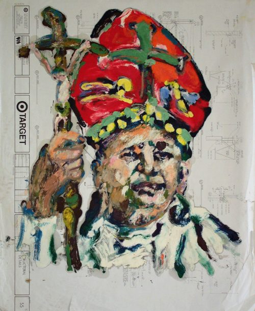 """Target - Pope "" 2009. Oil on Detailers Paper/Canvas. 42""X 36"""