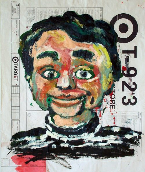 """Target - Howdy Doody "" 2009. Oil on Detailers Paper/Canvas. 42""X 36"""