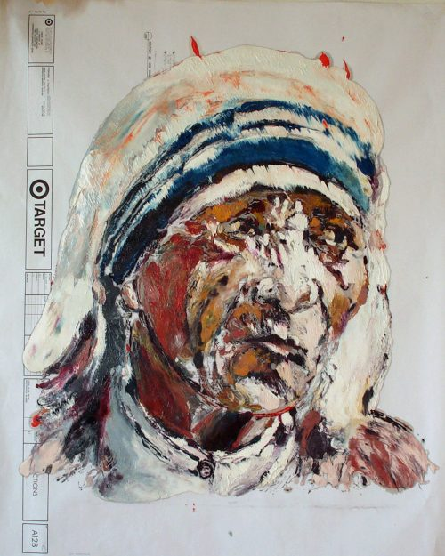 """Target - Teresa"" 2009. Oil on Detailers Paper/Canvas. 42""X 36"""