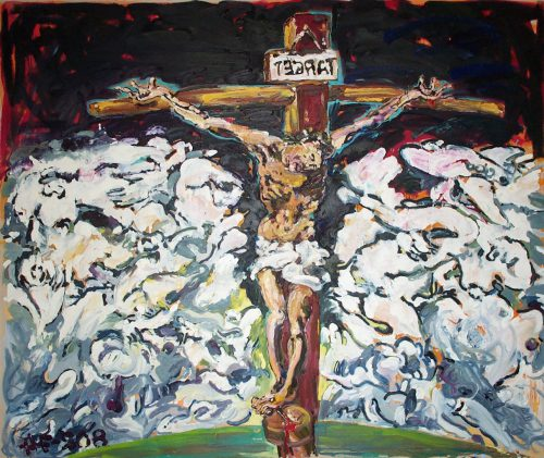 """TEGRAT - Jesus"" 2009. Oil on Canvas. 120""X 138"""