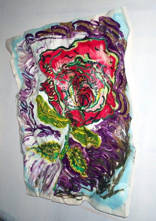 """""""Red Rose"""" 2018. Oil on Insulating Foam. 56in.X 42""""in.X 10in. (irreg.)"""