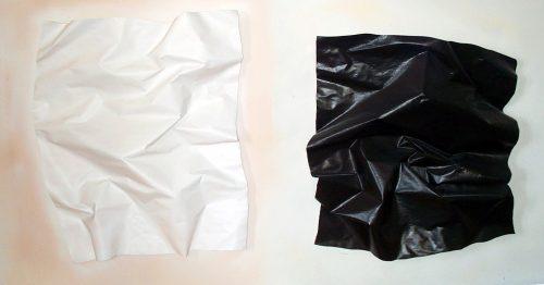 "Black, Not White"" (dyptich) 2017. Paper/Acrylic/Foam. 4ft.X 9ft.X 1ft."